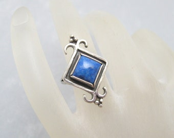 Unusual Long Sterling Ring Vintage Ring Shube R6246