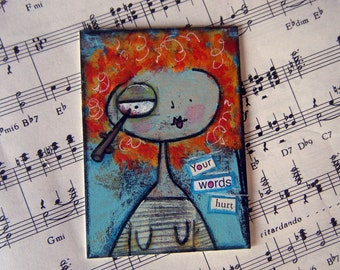 Found poetry original mixed media ACEO art card