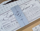 Ticket Wedding Invitation - Steampunk Invitation, Punch Card Train Ticket Invitation, Destination Wedding Invitation DEPOSIT