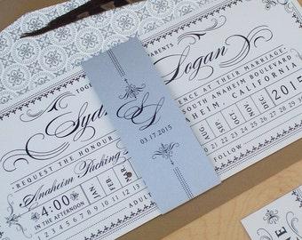 Ticket Wedding Invitation - Steampunk Invitation, Punch Card Train Ticket Invitation, Destination Wedding Invitation DEPOSIT
