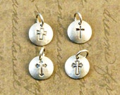 """3/8"""" inch sterling silver disk, disc, round, charm, add on, dainty, petite, cross, traditional"""