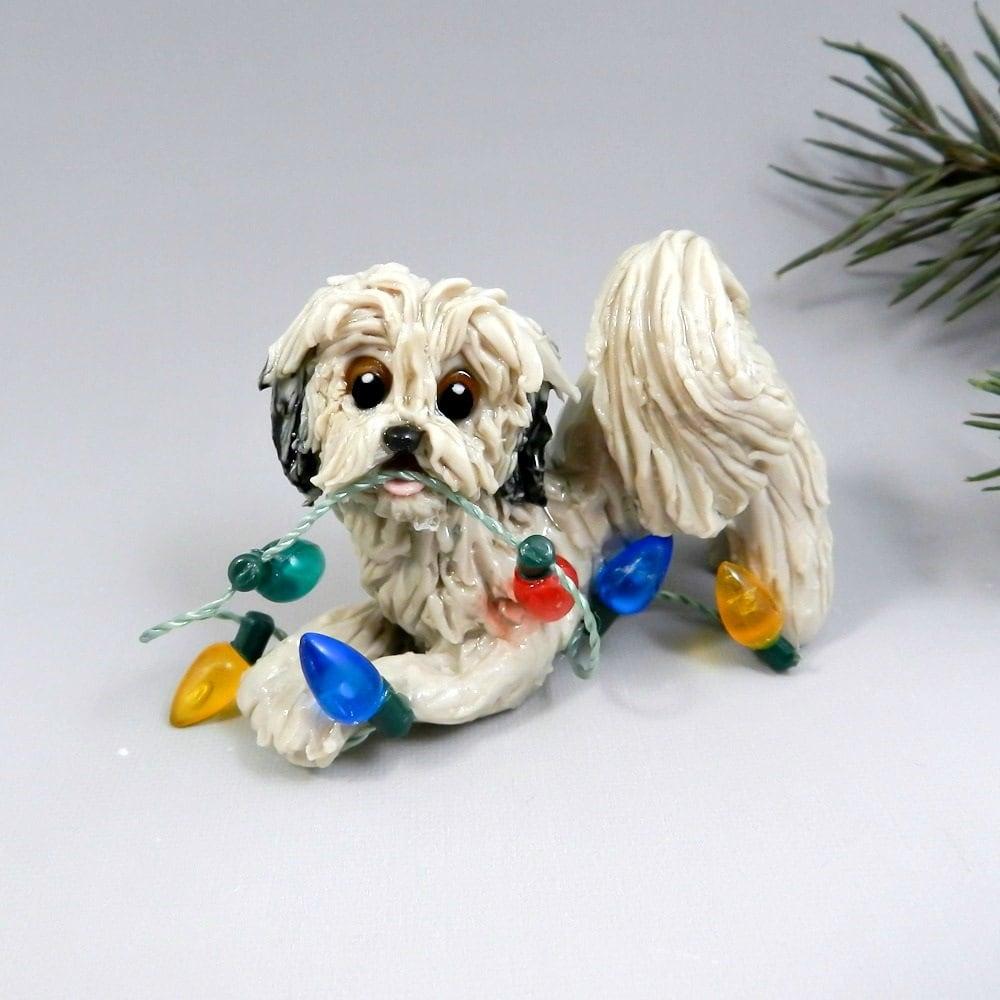 Shih Tzu Bichon Frise Hybrid Christmas Ornament Figurine