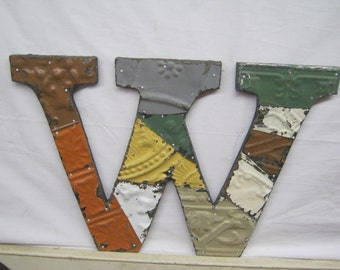 """Tin Ceiling Wrapped 12"""" Letter """"W"""" Patchwork Reclaimed Neutral Mosaic Wall Hanging S2146-14"""