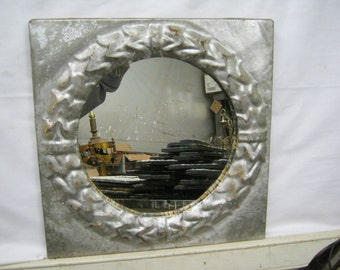 TIN Ceiling Tile 13x13 SILVER circle  Mirror Shabby (Chic) Authentic Recycled S2188-14