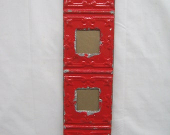 AUTHENTIC Reclaimed Tin Ceiling,  QUAD 3x3 Picture Frame RED Old  s2215-14