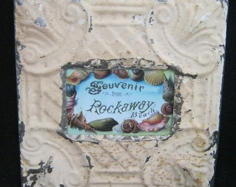 AUTHENTIC Tin Ceiling 4x6 Antique Tan Picture Frame Reclaimed Photo S2287-14