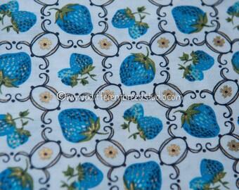 """Summer Berries in Blue- Vintage Fabric Novelty Fruit Berry 36"""" wide Raspberries Strawberries"""