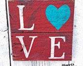 "Red Pallet Sign ""Love"" With Heart Wood Sign, Wall Decor, Distressed, Cottage Chic, Recycle Epicycle Rustic Country Primitive Wall Hanging"
