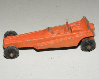 SALE Vintage Orange Metal Dragster Tootsie Toy Car made in the USA