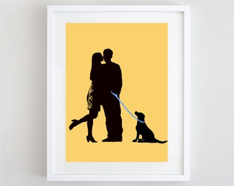 My Love Print  - Couples print with their pet  dog , Valentines Day , Wedding gift, anniversary, couple