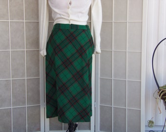Vintage 1960's Green Plaid A-Line Skirt