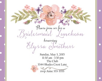 Bridal luncheon invitation custom original watercolor wedding bridal party lunch invitation flowers