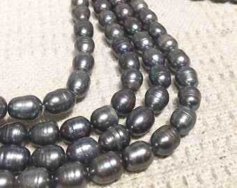 """Rice Pearl Baroque Pearl Freshwater Pearl Peacock Grey 10X13mm--16"""" full strand 30 pcs----wholesale deal  #DR3041"""