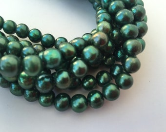 "Freshwater Pearl round potato pearl Forest Green 7-8mm, 15"" Full Strand 50pc A #RS2071"