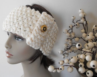 50% Off Winter White Knitted Headband for Women