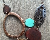 Tagua nuts coconut and horn necklace