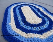 Under the sea crocheted oval shape rag rug, eco friendly, washable, bath mat, durable,  kitchen rug, home decor, blue, baby yellow, pastel