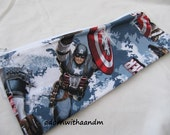 Zippered pencil case made with Captain America fabric, superhero, Avenger, Made in USA, zippered pouch, school supply, homeschool, organizer