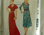 McCalls 6835 Dress Sewing Pattern, Plus Size Bust 43, Vintage Factory Folded Uncut