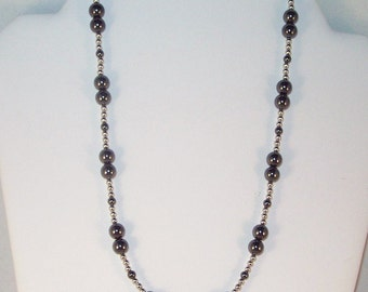 Gemstone Jewelry - Hematite and Silver Necklace