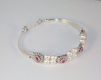 Swarovski Pearl & Crystal Jewelry - Bridal Bracelet - Shown with Rose Crystals