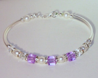 Swarovski Crystal Bridal Jewelry - Bride Bridesmaid Maid of Honor Bracelet - Any Color