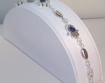 Swarovski Crystal Jewelry - Hamsa & Affirmation Bracelet - Silver Hamsa with Dark Blue Lapis Center Crystals