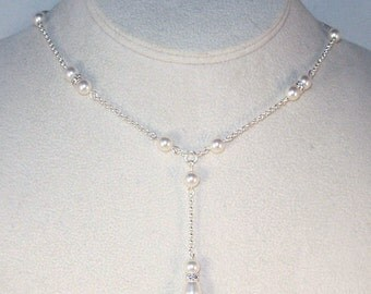 Swarovski Pearl Drop Bridal Necklace and Earrings Set - Shown in White - Made to Order