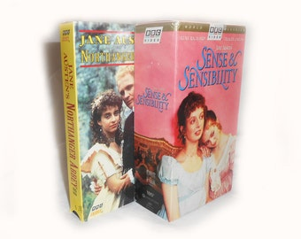 Vintage Jane Austen VHS Tape Movie Collection Sense and Sensibility and Northanger Abbey BBC Productions 1980s The Original Regency Romance