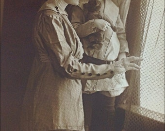 Vintage photo woman and child looking out window framed Fairmont, WV