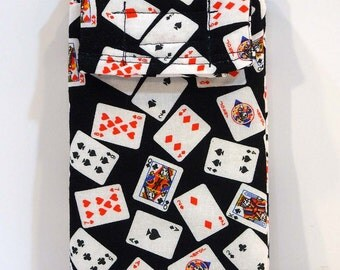 Cell phone case, glasses case, Fabric phone case, Fabric phone pouch, playing cards, poker print