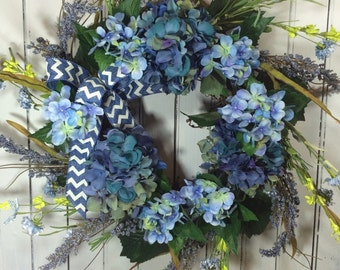 Blue Hydrangea Wreath for Door, Spring Flower Door Wreath, Blue Spring Wreath