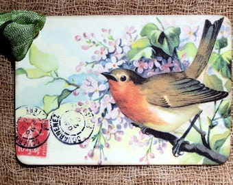 Sweet Bird Postcard Tags #458
