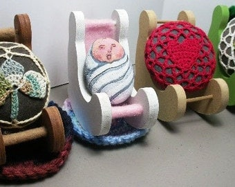 Crocheted Rock and mini rocking chair