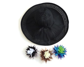 "Women's Summer Hat, Big Brim Sun Hat, Packable Travel Hat, Beach Resort Hat in Black Comes with 3 Interchangeable Brooch Pins  ""Pin Up Girl"""