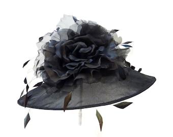"Kentucky Derby Hat, Spring Fashion Easter Hat, Summer Hat, Garden and Tea Party Hat in Sheer Black Organza - ""La Belle Femme"""