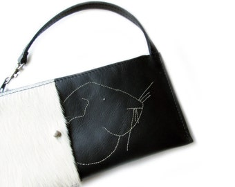 leather purse black guinea pig wallet