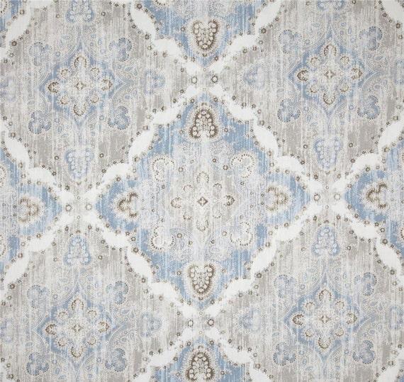 Light Blue Ikat Curtains Blue Grey Geometric By