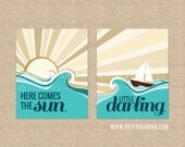 Beatles Nursery Wall Art, Here Comes the Sun Nautical Home Decor, Art Print or Canvas // Custom Match colors to your room // N-G32-2PS AA1