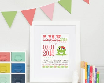 Girl Froggie Personalized Birth Announcement Print// Archival Giclée Art Print for Nursery or Child's Room // N-B04-1PS AA6