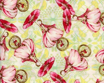 Tina Givens Fabric Unicycle Play in Strawberry from the Riddles and Rhymes Collection 1/2 Yard