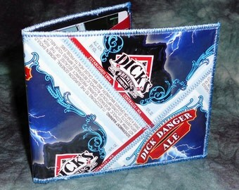 Bi-Fold Wallet from Recycled Dick's Brewing Dick Danger Ale Beer Labels