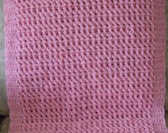 Pink Blanket Crochet 23 x 36 Washable Car Seat Blanket Baby Toddler Wheelchair Warm Cozy Soft