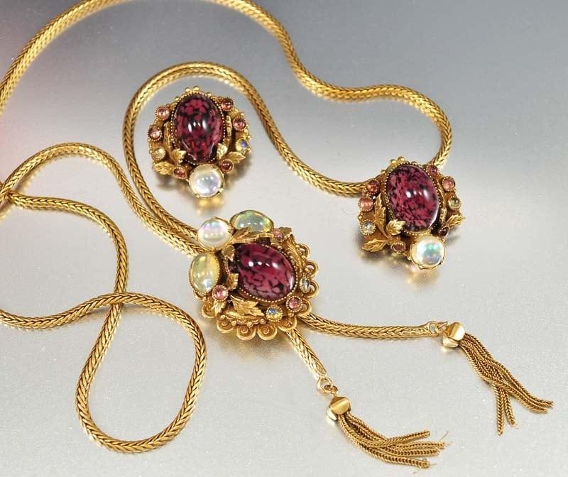 vintage purple glass opal necklace earrings snake chain tassel
