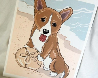 Beachy Corgi - 8x10 Eco-friendly Print