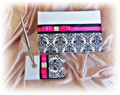 Damask wedding guest book and pen set, hot pink and black damask weddings.  Ready to Ship