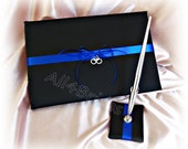 Thin blue line wedding guest book with handcuff charm, black and royal blue wedding guest book and pen set