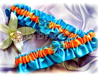 Turquoise and Orange Wedding Bridal Keepsake and Toss Garter Set, Bridal Something Blue