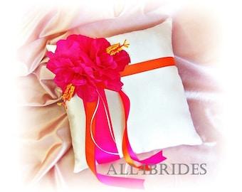 Pink hibiscus and orange wedding ring bearer pillow, hot pink and orange wedding ring cushion