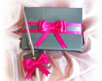 Wedding Guest Book and pen set Dark Grey and Fuchsia Pink wedding accessories.
